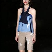2017 summer new hanging neck lace bowknot tops T-Shirt straight leg shorts - Bonny YZOZO Boutique St