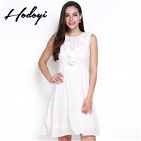 Vogue Sweet Split Front Slimming Sleeveless High Waisted One Color Fall Frilled Dress - Bonny YZOZO