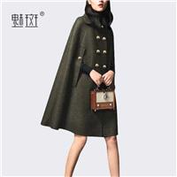 Oversized Polo Collar Double Breasted Wool Wool Coat Puncho Coat Overcoat - Bonny YZOZO Boutique Sto