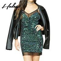 Vogue Sexy Seen Through Split Front Sequined Accessories Spring Strappy Top Backpack Dress - Bonny Y