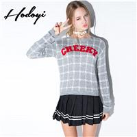 Ladies fall 2017 new sweet school letter patch sweaters children sweater - Bonny YZOZO Boutique Stor