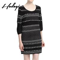Vogue Solid Color Slimming Scoop Neck 3/4 Sleeves Jersey Spring Stripped Dress - Bonny YZOZO Boutiqu