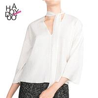 Oversized Vogue Simple V-neck 3/4 Sleeves One Color Fall Casual Blouse - Bonny YZOZO Boutique Store