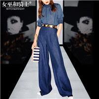 Vogue Simple Slimming High Neck 3/4 Sleeves Summer Outfit Top Flare Trouser Long Trouser - Bonny YZO