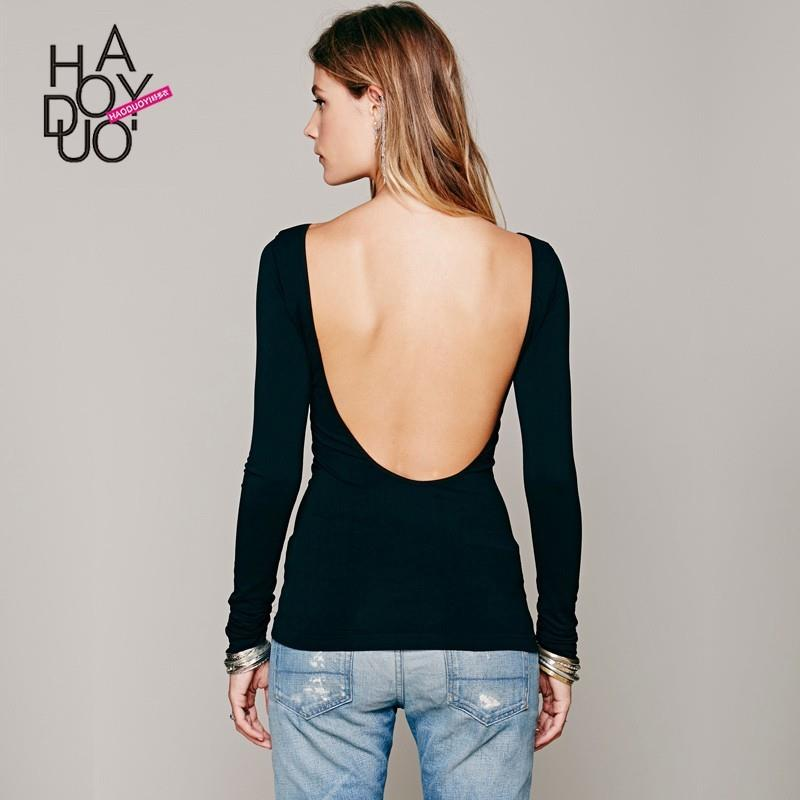 My Stuff, Vogue Sexy Simple Open Back One Color Spring 9/10 Sleeves T-shirt Basics - Bonny YZOZO Bou