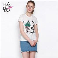 Must-have Vogue Printed Sequined Alphabet Summer Casual T-shirt - Bonny YZOZO Boutique Store