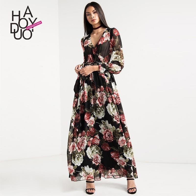 wedding, Vogue Sexy Printed V-neck High Waisted Floral Fall Dress - Bonny YZOZO Boutique Store