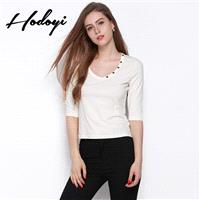 New slim white t shirt women's long sleeve t-shirt at the end of 2017 autumn white tunic cotton shir