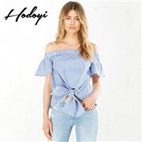 School Style Vogue Sexy Sweet Frilled Sleeves Bateau Summer Stripped Blouse - Bonny YZOZO Boutique S