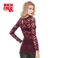 Must-have Sexy Seen Through Slimming Scoop Neck Long Sleeves Rose Top Lace Top Basics - Bonny YZOZO