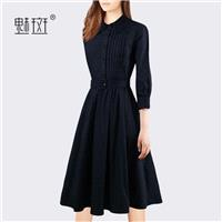 Vogue Sexy Attractive Polo Collar 3/4 Sleeves Mid Rise Fall Dress - Bonny YZOZO Boutique Store
