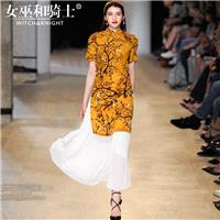2017 summer new retro cheongsam dress floral print Silk Mulberry Silk skirt fashion suit two piece s