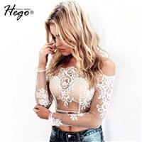 Vogue Seen Through Slimming Summer 9/10 Sleeves Lace Basic Top - Bonny YZOZO Boutique Store