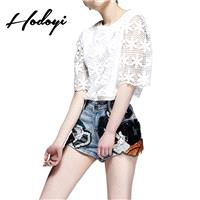 Must-have Sweet Embroidery Hollow Out 1/2 Sleeves One Color Summer Blouse T-shirt - Bonny YZOZO Bout