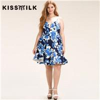 2017Plus Size women's summer New Style Fashion Backless slim fit romantic floral print sweet Straple