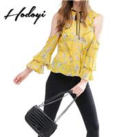 Vogue Sexy Vintage Frilled Sleeves Off-the-Shoulder Multi Layered Floral Fall Tie Blouse - Bonny YZO