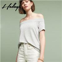 Vogue Sexy Simple Off-the-Shoulder Summer Short Sleeves Stripped T-shirt Basics - Bonny YZOZO Boutiq