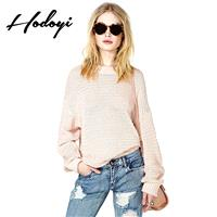 Oversized Vogue Sweet Scoop Neck Jersey One Color Fall Casual 9/10 Sleeves Sweater - Bonny YZOZO Bou