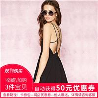 Sexy Open Back Slimming Sleeveless Crossed Straps One Color Summer Strappy Top Dress - Bonny YZOZO B