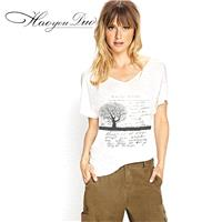 Vogue Printed Slimming V-neck Alphabet Short Sleeves T-shirt - Bonny YZOZO Boutique Store