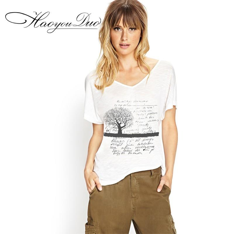 My Stuff, Vogue Printed Slimming V-neck Alphabet Short Sleeves T-shirt - Bonny YZOZO Boutique Store