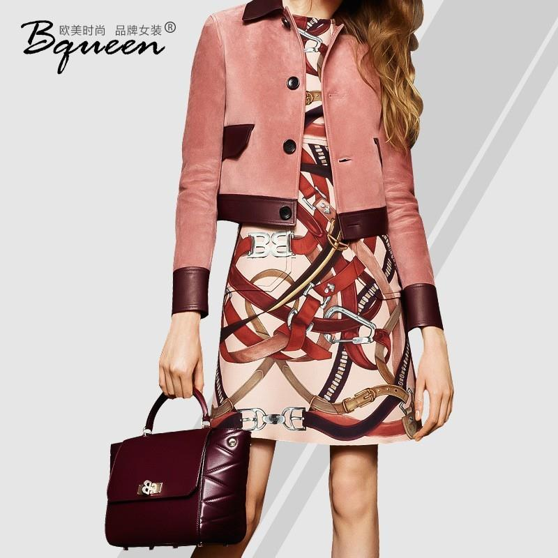 My Stuff, 2017 new autumn fashion PU leather lapel long sleeve contrast color stitching single breas