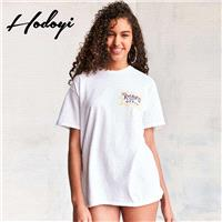 Must-have Oversized Vogue Simple Printed Scoop Neck Cartoon Alphabet Summer Short Sleeves T-shirt To