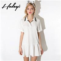 School Style Vogue Sweet Polo Collar Spring Casual Short Sleeves Stripped Blouse Dress - Bonny YZOZO