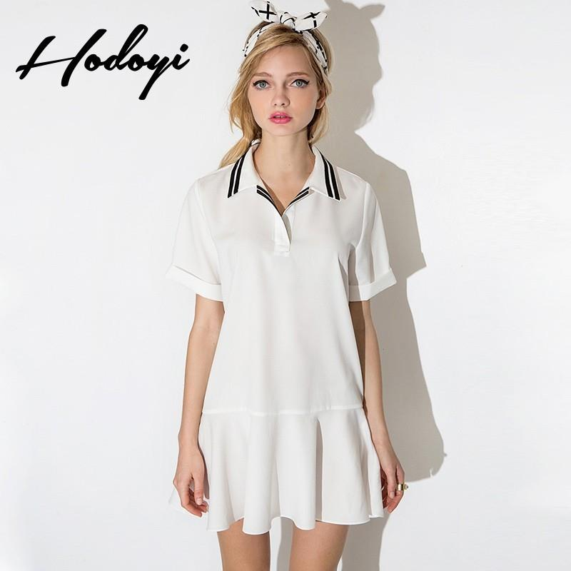 My Stuff, School Style Vogue Sweet Polo Collar Spring Casual Short Sleeves Stripped Blouse Dress - B