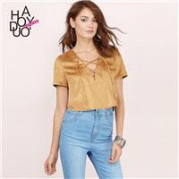 2017 summer dress new fashion retro suede lace v neck short navel-baring women t shirt - Bonny YZOZO