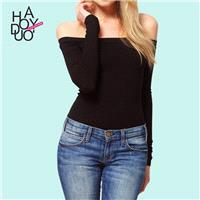 Sexy Slimming Bateau Off-the-Shoulder Jersey T-shirt Top - Bonny YZOZO Boutique Store