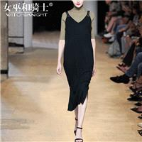 Vogue Attractive V-neck Sleeveless Jersey Wool Black Strappy Top Dress - Bonny YZOZO Boutique Store